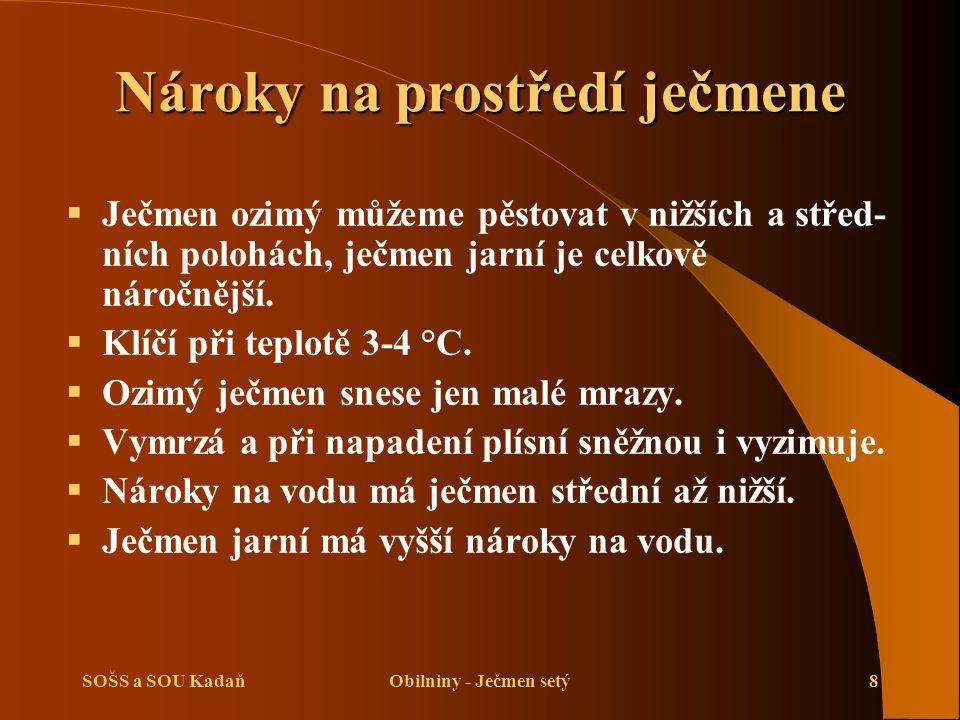 SOŠS a SOU KadaňObilniny - Ječmen setý9 Nároky na prostředí ječmene  Ječmen dobře roste na černozemích, hnědých i lužních půdách.