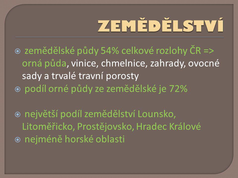  zemědělské půdy 54% celkové rozlohy ČR => orná půda, vinice, chmelnice, zahrady, ovocné sady a trvalé travní porosty  podíl orné půdy ze zemědělské