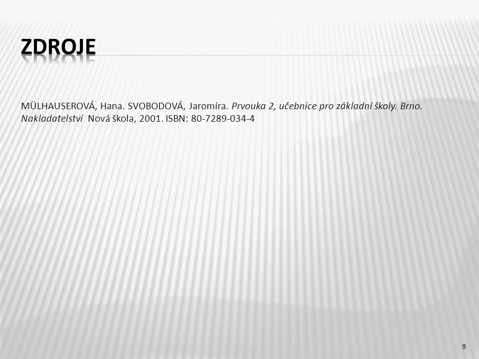 MÜLHAUSEROVÁ, Hana. SVOBODOVÁ, Jaromíra. Prvouka 2, učebnice pro základní školy. Brno. Nakladatelství Nová škola, 2001. ISBN: 80-7289-034-4 9