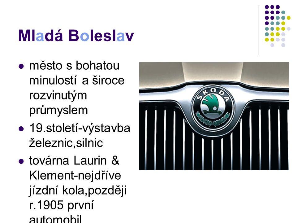 Mladá Boleslav město s bohatou minulostí a široce rozvinutým průmyslem 19.století-výstavba železnic,silnic továrna Laurin & Klement-nejdříve jízdní ko