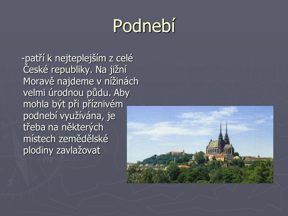 Podnebí -patří k nejteplejším z celé České republiky. Na jižní Moravě najdeme v nížinách velmi úrodnou půdu. Aby mohla být při příznivém podnebí využí