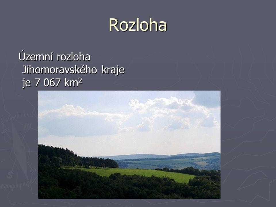 Rozloha Územní rozloha Jihomoravského kraje je 7 067 km 2 Územní rozloha Jihomoravského kraje je 7 067 km 2