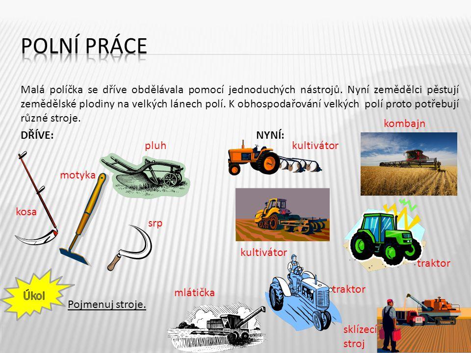 Malá políčka se dříve obdělávala pomocí jednoduchých nástrojů. Nyní zemědělci pěstují zemědělské plodiny na velkých lánech polí. K obhospodařování vel