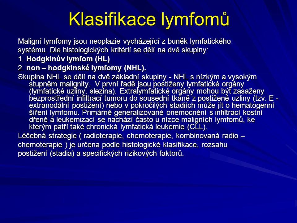 Klasifikace lymfomů Maligní lymfomy jsou neoplazie vycházející z buněk lymfatického systému. Dle histologických kritérií se dělí na dvě skupiny: 1. Ho