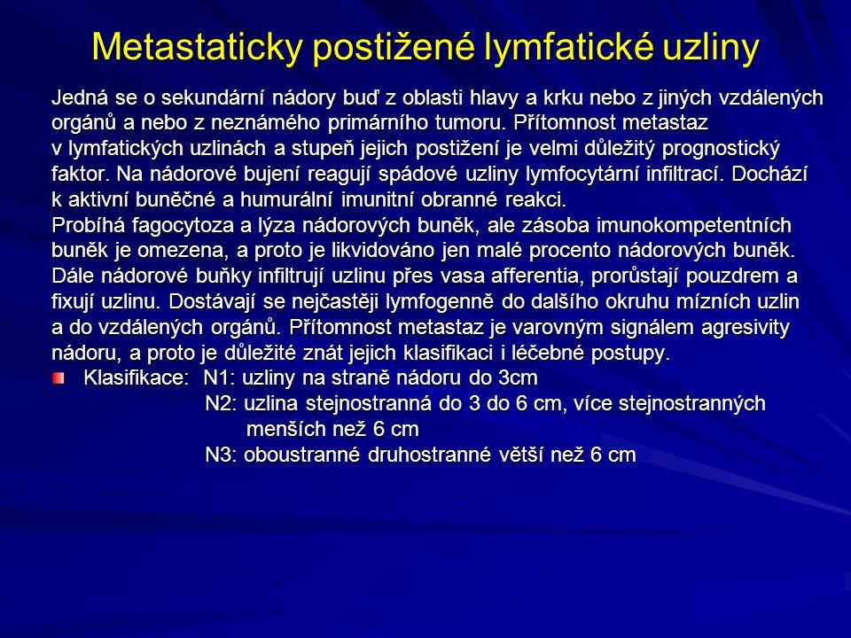 Metastaticky postižené lymfatické uzliny Jedná se o sekundární nádory buď z oblasti hlavy a krku nebo z jiných vzdálených orgánů a nebo z neznámého primárního tumoru.