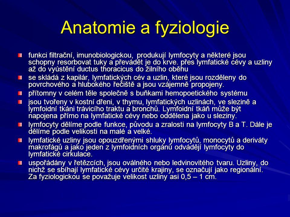 Anatomie a fyziologie funkci filtrační, imunobiologickou, produkují lymfocyty a některé jsou schopny resorbovat tuky a převádět je do krve. přes lymfa