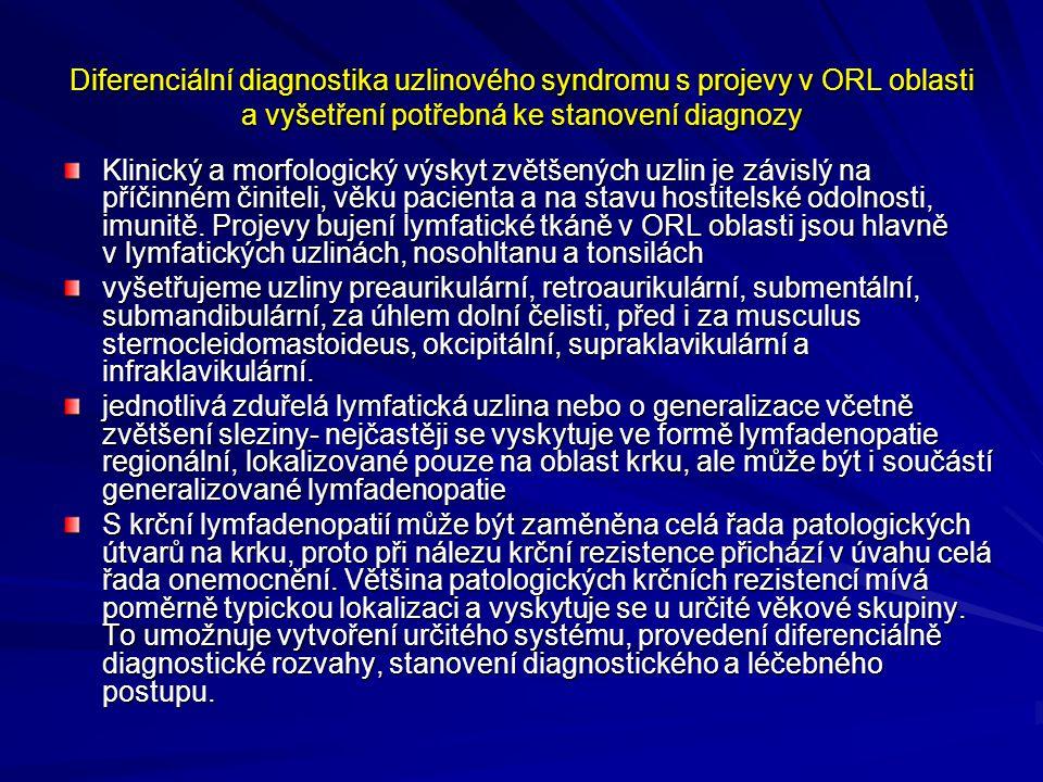 Diferenciální diagnostika uzlinového syndromu s projevy v ORL oblasti a vyšetření potřebná ke stanovení diagnozy - anamnezu, somatické vyšetření, základní ORL vyšetření, celkové fyzikální vyšetření se zaměřením na vyšetření jiných orgánů podle lokalizace zvětšené lymfatické uzliny, pomocná laboratorní a zobrazovací vyšetření.