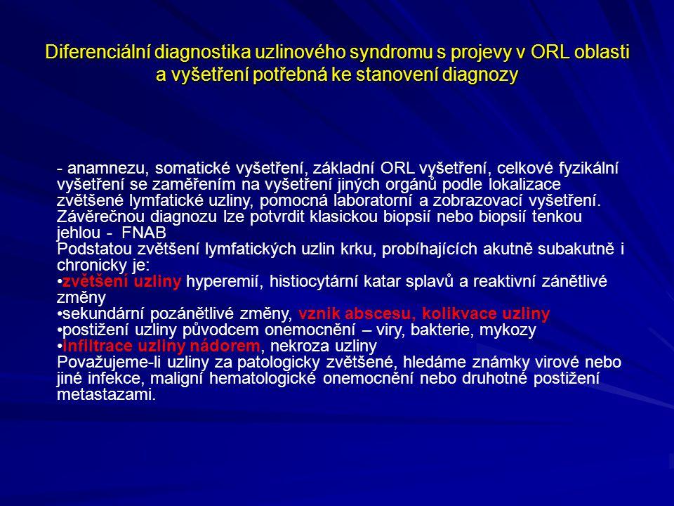 Anamnéza má být nejdříve zaměřená na postižení ORL orgánů a dále má obsahovat - věk pacienta - prodělaná horečnatá a infekční onemocnění u pacienta i v jeho životním okolí - rizikové faktory v osobních návycích nebo v životním i pracovním prostředí - teploty, únavu, pocení, úbytek hmotnosti, bolest v místě nebo hlavy a kloubů - lokální nebo celkové infekce, trauma, svědění kůže - rizikové chování – narkomanie, sexuální orientace /AIDS/ - užívání a alergie na léky - kontakt se zvířaty, tuberkulozou, klíštětem - pobyt v rizikových oblastech, cestování nádorové onemocnění v anamneze