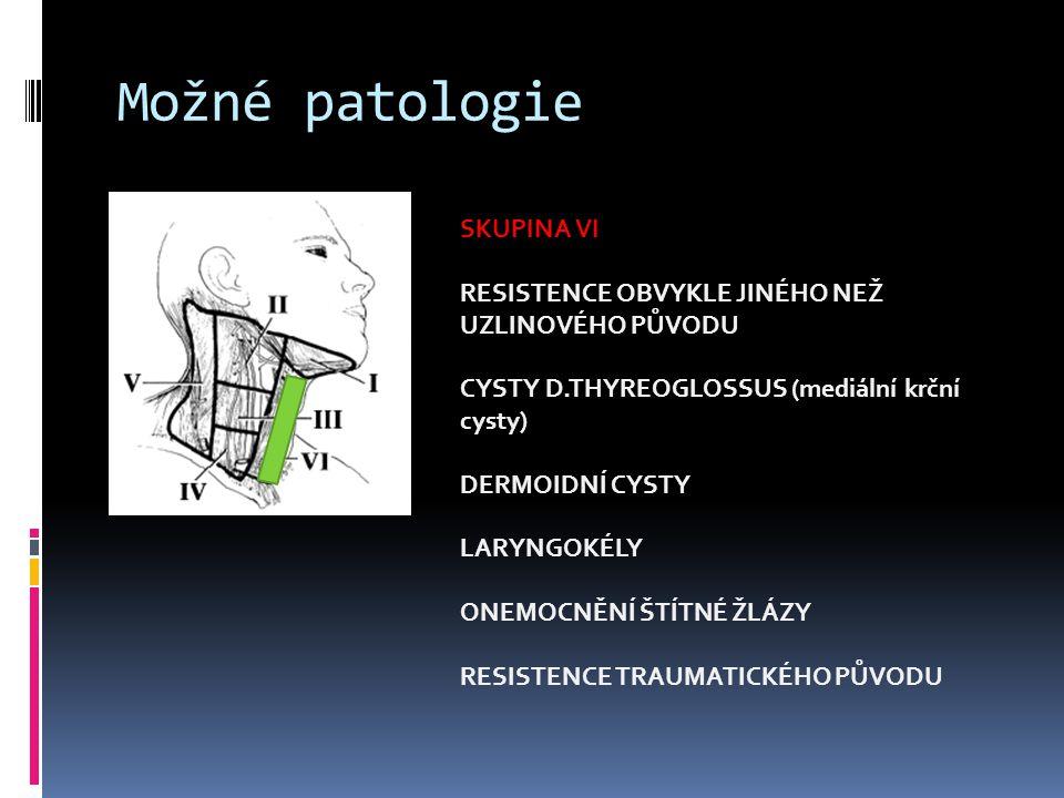 Možné patologie SKUPINA VI RESISTENCE OBVYKLE JINÉHO NEŽ UZLINOVÉHO PŮVODU CYSTY D.THYREOGLOSSUS (mediální krční cysty) DERMOIDNÍ CYSTY LARYNGOKÉLY ON