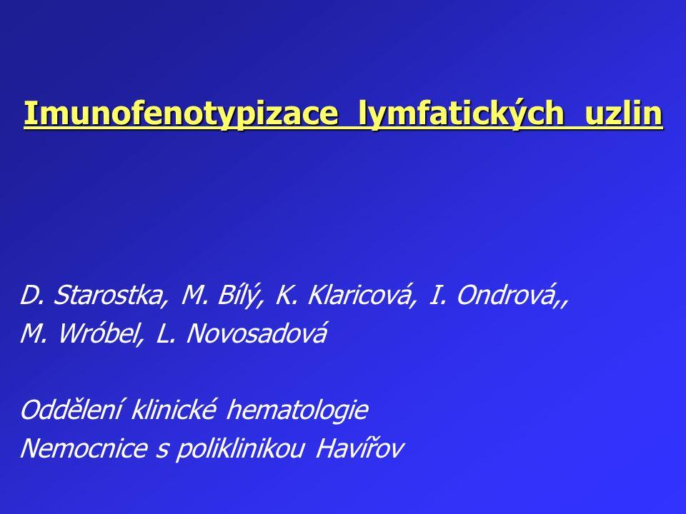 Panel pro imunofenotypizaci lymfoproliferací na OKH NsP Havířov Panleukocytární marker : CD45 T – markery : CD 3, CD 4, CD 8, CD 5, CD 7, CD 2, CD 1, TCR B – markery : CD 19, CD 20, CD 21, CD 22, CD 23, CD 25, CD 38, CD 11c, CD 79b, FMC 7, CD 40, CD 28, CD 103, CD 138 NK – markery: CD 16, CD 56 Povrchové, event.