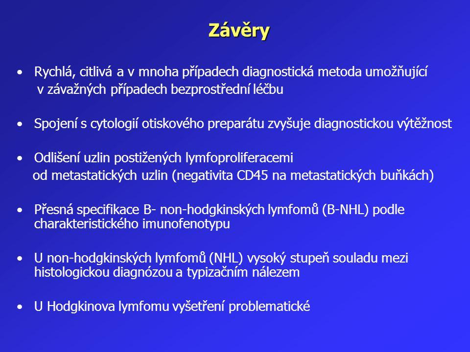 Závěry Rychlá, citlivá a v mnoha případech diagnostická metoda umožňující v závažných případech bezprostřední léčbu Spojení s cytologií otiskového pre