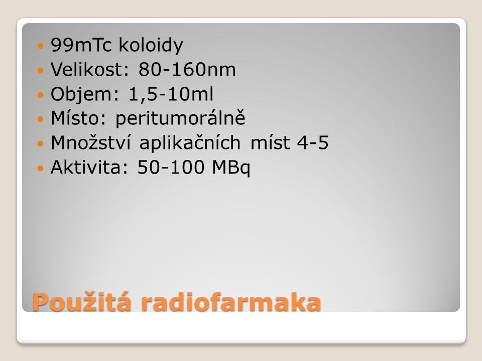 Použitá radiofarmaka 99mTc koloidy Velikost: 80-160nm Objem: 1,5-10ml Místo: peritumorálně Množství aplikačních míst 4-5 Aktivita: 50-100 MBq