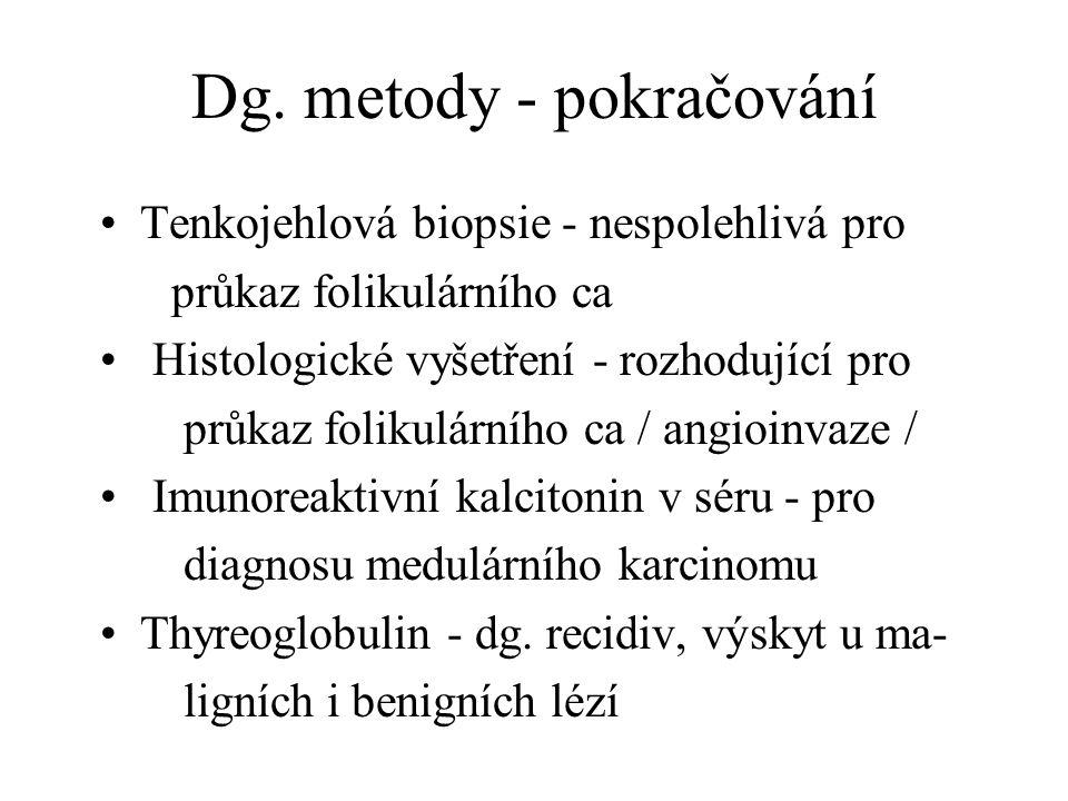 Dg. metody - pokračování Tenkojehlová biopsie - nespolehlivá pro průkaz folikulárního ca Histologické vyšetření - rozhodující pro průkaz folikulárního