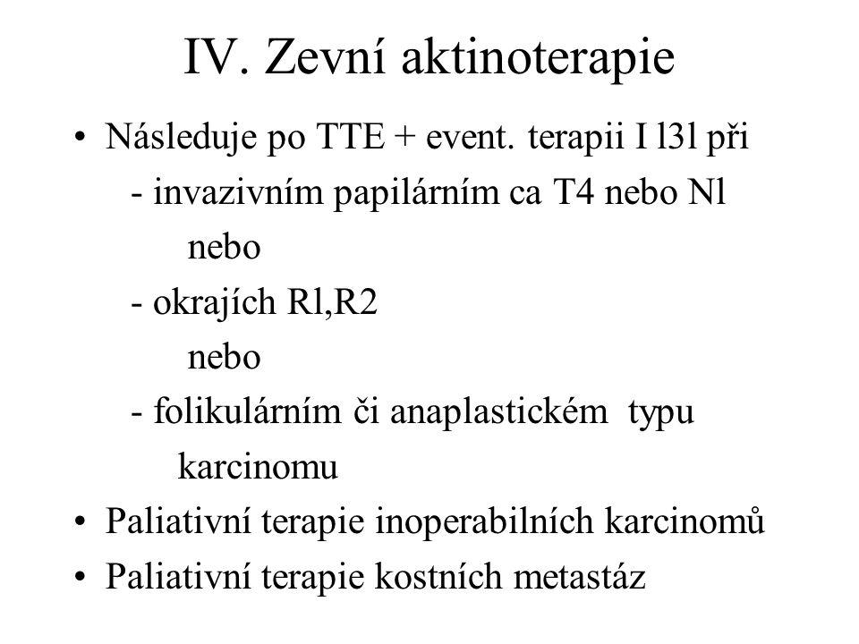 IV. Zevní aktinoterapie Následuje po TTE + event. terapii I l3l při - invazivním papilárním ca T4 nebo Nl nebo - okrajích Rl,R2 nebo - folikulárním či