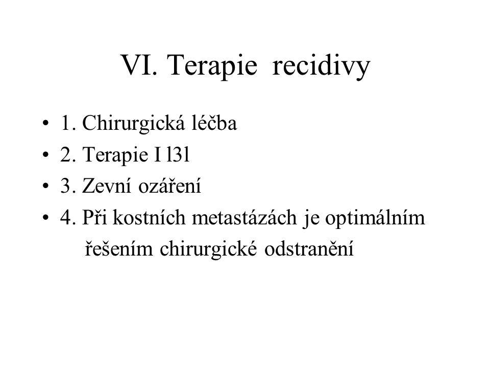 VI. Terapie recidivy 1. Chirurgická léčba 2. Terapie I l3l 3. Zevní ozáření 4. Při kostních metastázách je optimálním řešením chirurgické odstranění