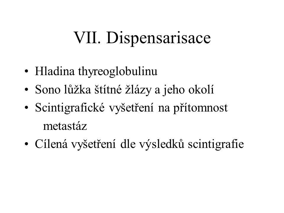 VII. Dispensarisace Hladina thyreoglobulinu Sono lůžka štítné žlázy a jeho okolí Scintigrafické vyšetření na přítomnost metastáz Cílená vyšetření dle