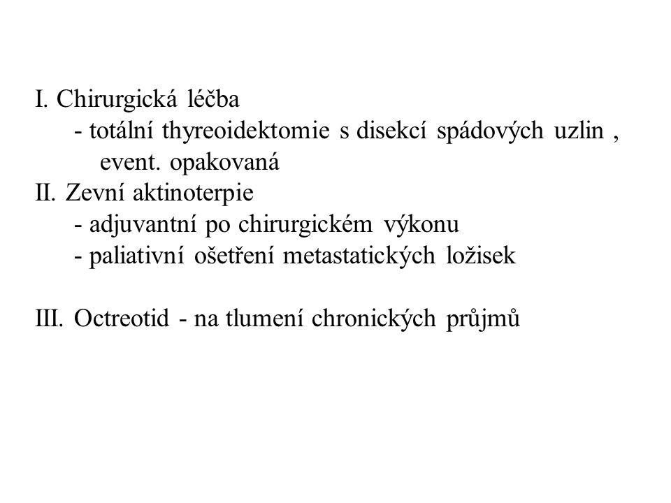 I. Chirurgická léčba - totální thyreoidektomie s disekcí spádových uzlin, event. opakovaná II. Zevní aktinoterpie - adjuvantní po chirurgickém výkonu