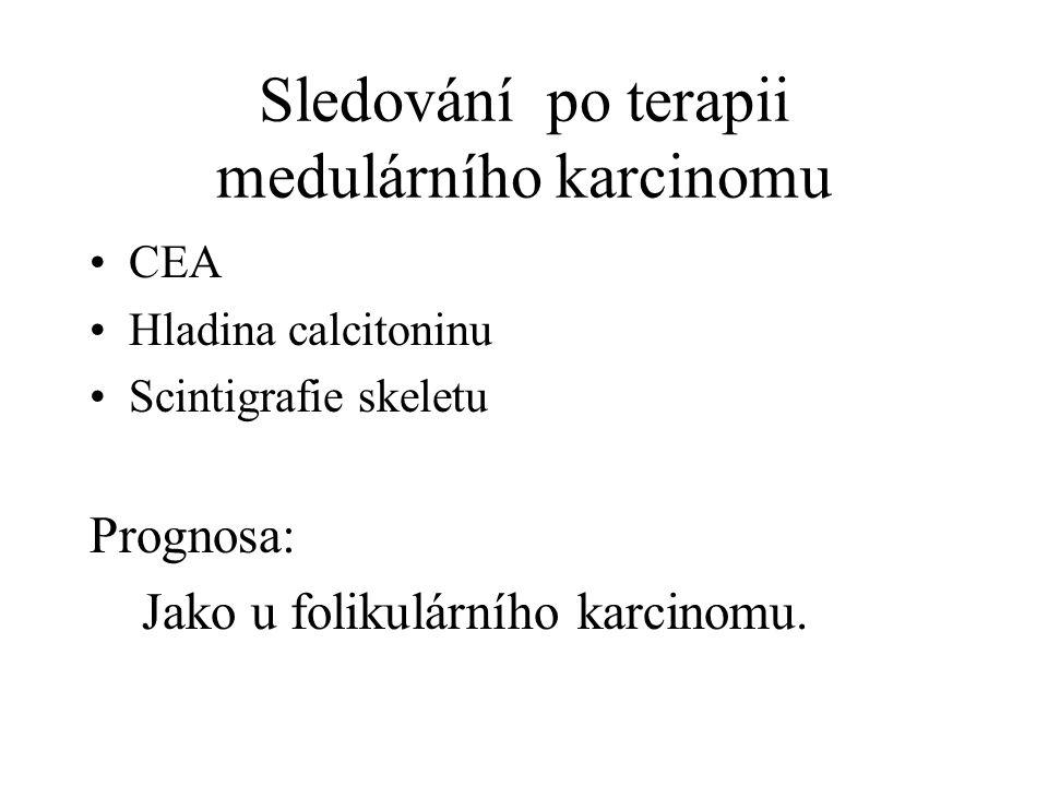 Sledování po terapii medulárního karcinomu CEA Hladina calcitoninu Scintigrafie skeletu Prognosa: Jako u folikulárního karcinomu.