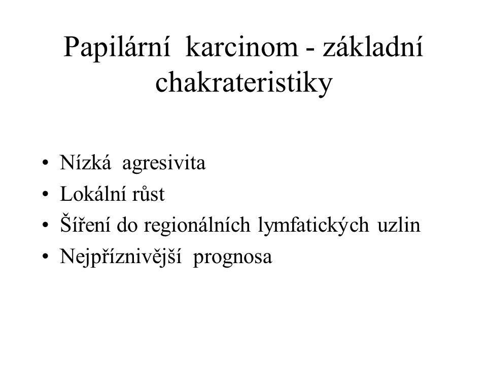 Papilární karcinom - základní chakrateristiky Nízká agresivita Lokální růst Šíření do regionálních lymfatických uzlin Nejpříznivější prognosa