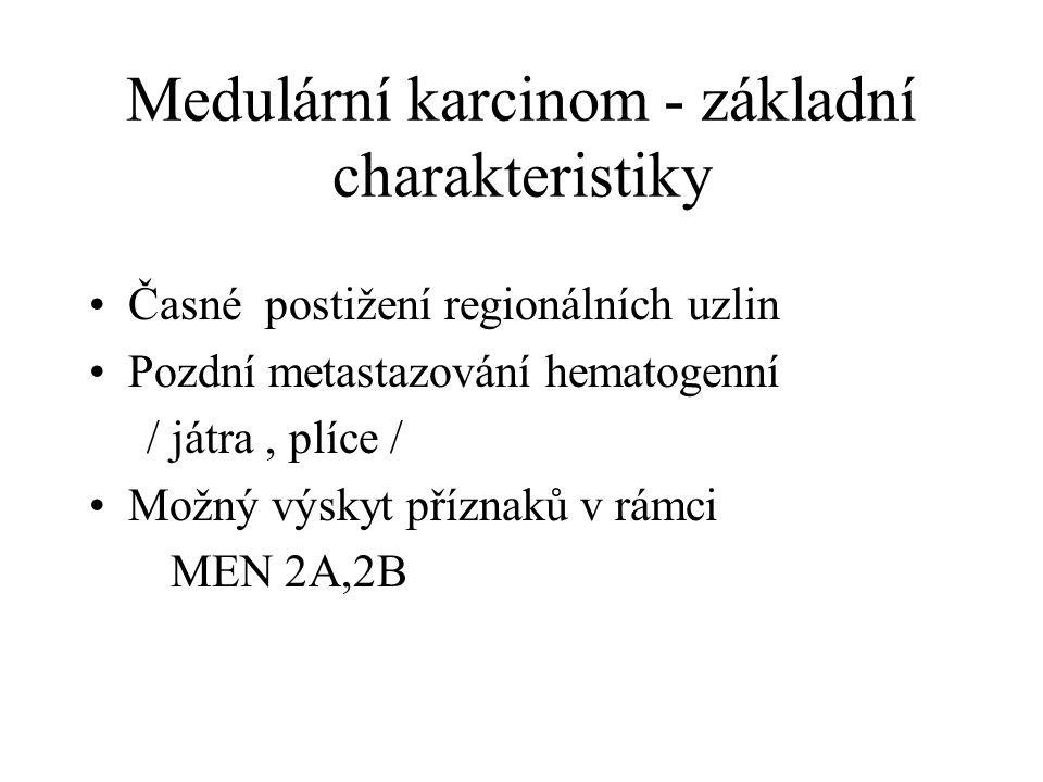 Medulární karcinom - základní charakteristiky Časné postižení regionálních uzlin Pozdní metastazování hematogenní / játra, plíce / Možný výskyt přízna