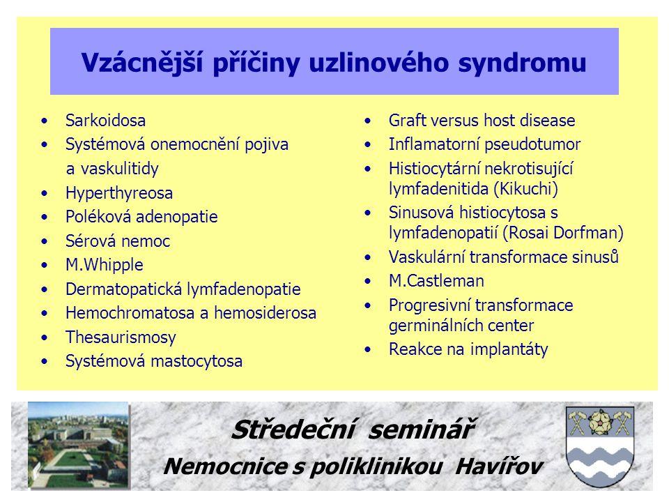 Středeční seminář Nemocnice s poliklinikou Havířov Vyšetření pacienta s uzlinovým syndromem Podrobná anamnesa !!.