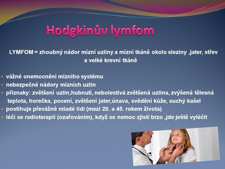 LYMFOM = zhoubný nádor mízní uzliny a mízní tkáně okolo sleziny,jater, střev a velké krevní tkáně vážné onemocnění mízního systému nebezpečné nádory m