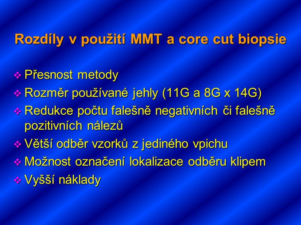 Rozdíly v použití MMT a core cut biopsie  Přesnost metody  Rozměr používané jehly (11G a 8G x 14G)  Redukce počtu falešně negativních či falešně po