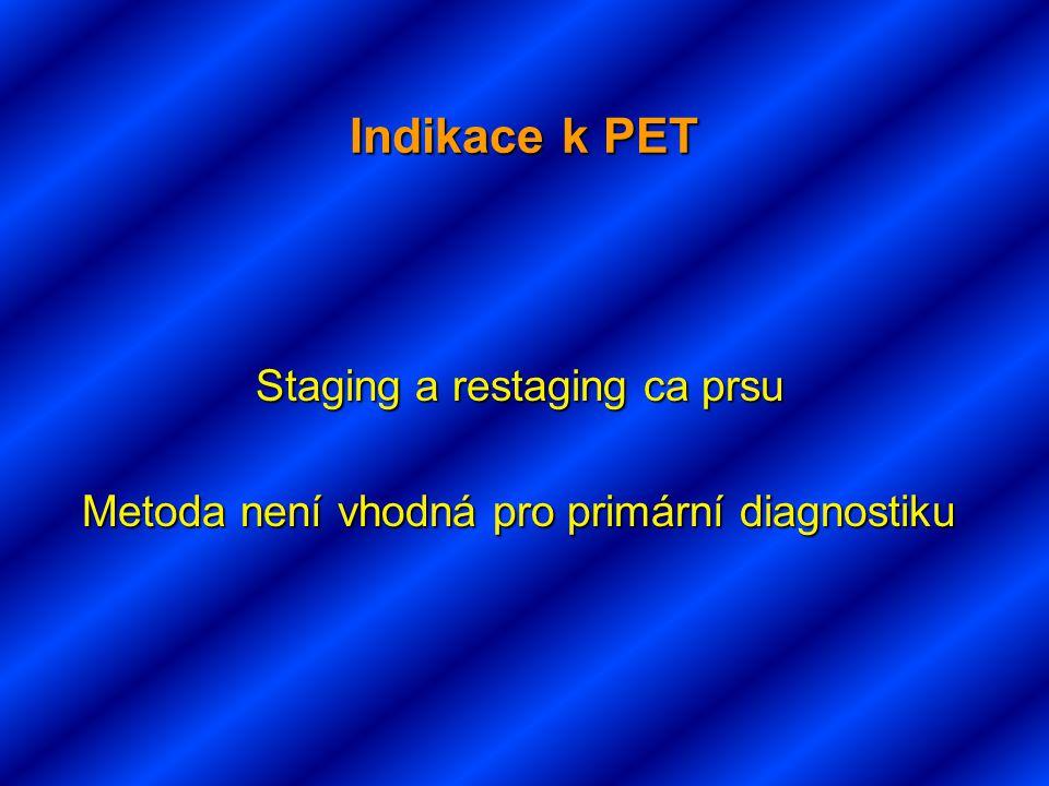 Indikace k PET Staging a restaging ca prsu Metoda není vhodná pro primární diagnostiku Metoda není vhodná pro primární diagnostiku