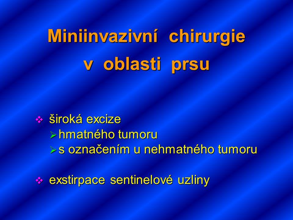 Miniinvazivní chirurgie v oblasti prsu  široká excize  hmatného tumoru  s označením u nehmatného tumoru  exstirpace sentinelové uzliny