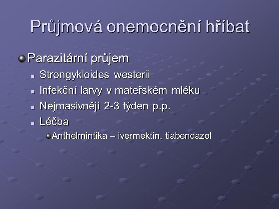 Průjmová onemocnění hříbat Parazitární průjem Strongykloides westerii Strongykloides westerii Infekční larvy v mateřském mléku Infekční larvy v mateřs