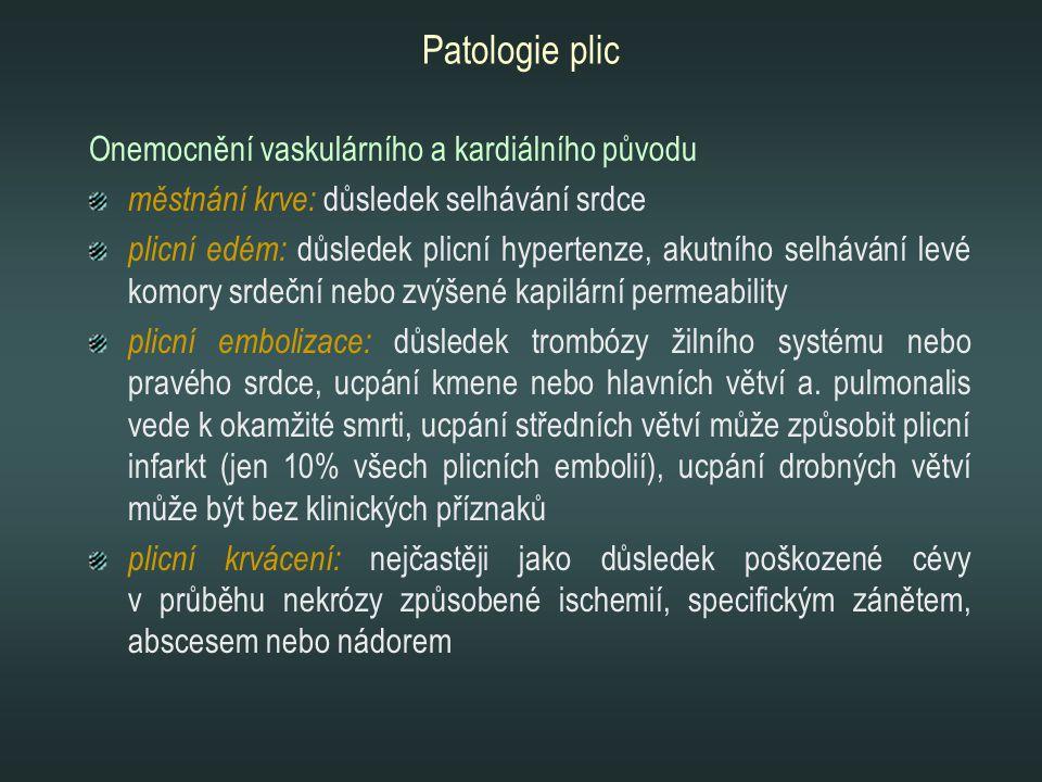Patologie plic Onemocnění vaskulárního a kardiálního původu městnání krve: důsledek selhávání srdce plicní edém: důsledek plicní hypertenze, akutního