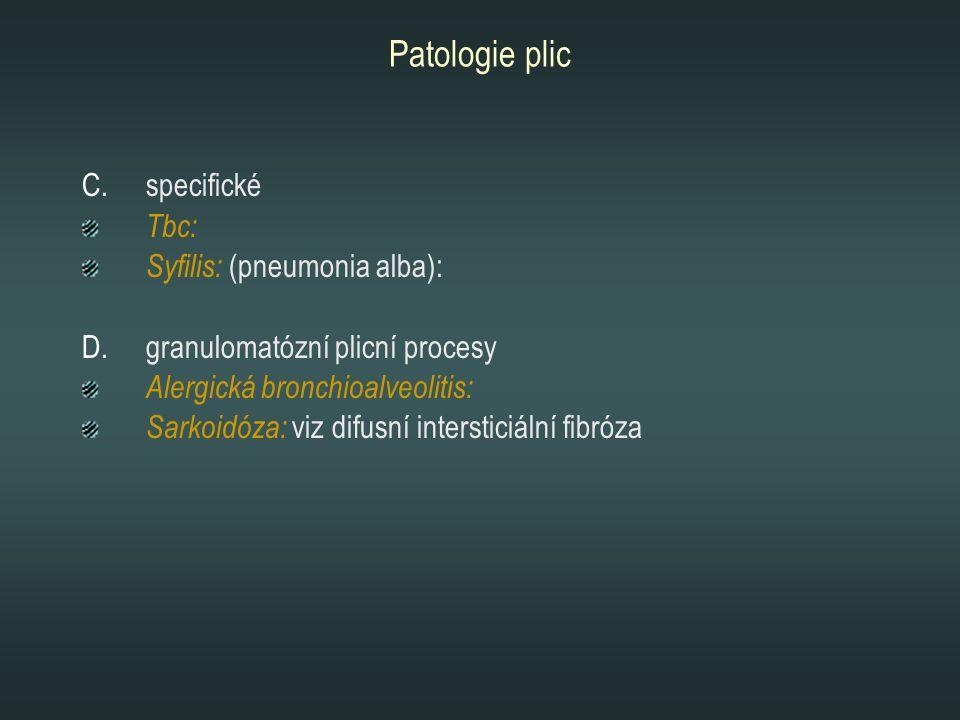 Patologie plic C.specifické Tbc: Syfilis: (pneumonia alba): D.granulomatózní plicní procesy Alergická bronchioalveolitis: Sarkoidóza: viz difusní inte