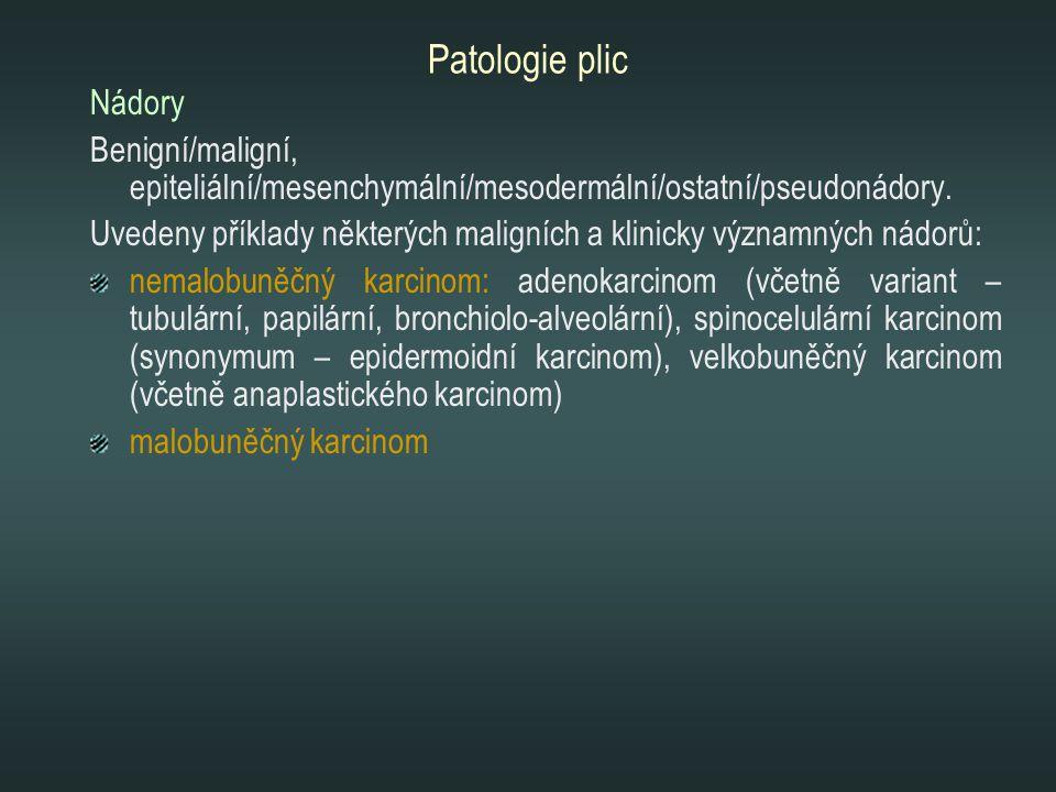 Patologie plic Nádory Benigní/maligní, epiteliální/mesenchymální/mesodermální/ostatní/pseudonádory. Uvedeny příklady některých maligních a klinicky vý