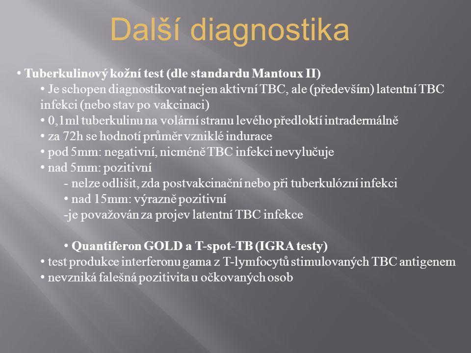 Další diagnostika Tuberkulinový kožní test (dle standardu Mantoux II) Je schopen diagnostikovat nejen aktivní TBC, ale (především) latentní TBC infekc