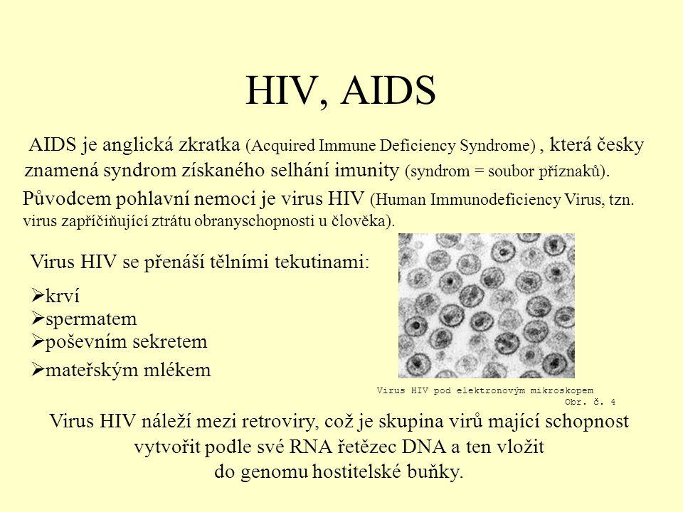 HIV, AIDS AIDS je anglická zkratka (Acquired Immune Deficiency Syndrome), která česky znamená syndrom získaného selhání imunity (syndrom = soubor příznaků).