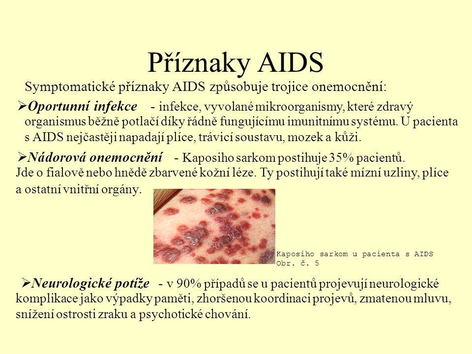 Příznaky AIDS Symptomatické příznaky AIDS způsobuje trojice onemocnění:  O O portunní infekce  N ádorová onemocnění eurologické potíže Kaposiho sarkom u pacienta s AIDS Obr.