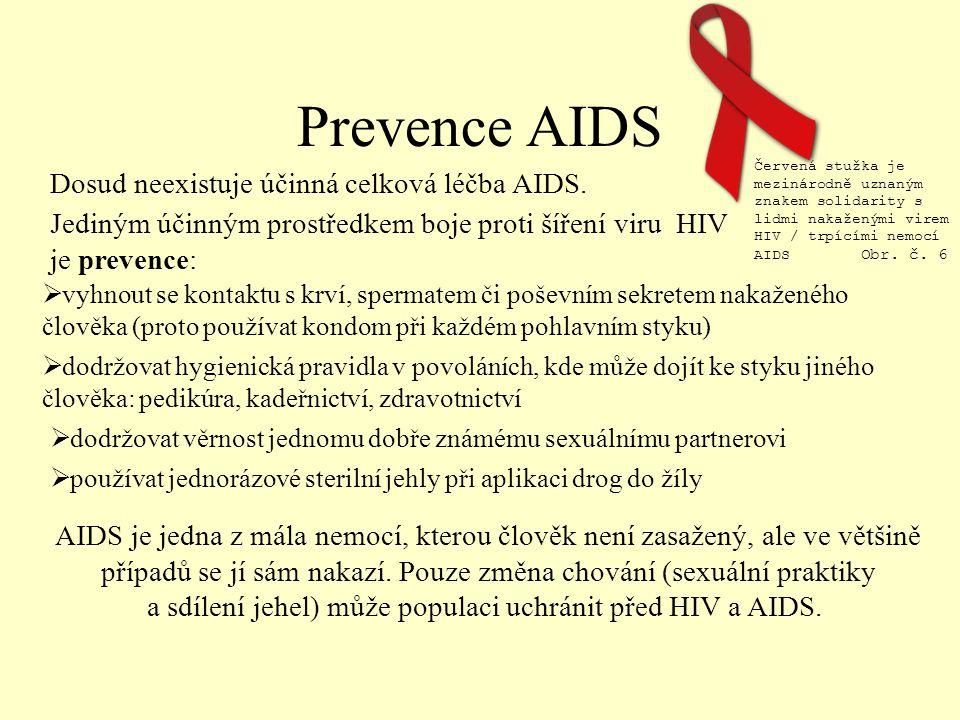 Prevence AIDS Jediným účinným prostředkem boje proti šíření viru HIV je prevence: AIDS je jedna z mála nemocí, kterou člověk není zasažený, ale ve většině případů se jí sám nakazí.