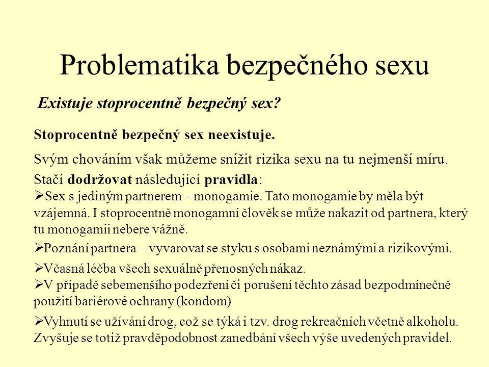 Problematika bezpečného sexu Existuje stoprocentně bezpečný sex.
