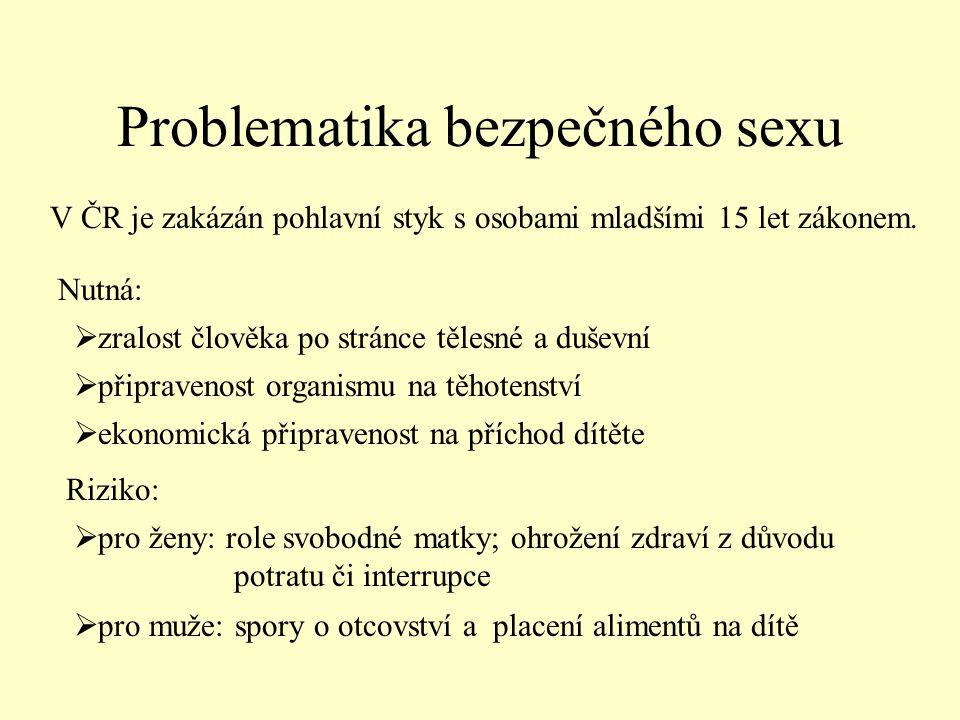 Problematika bezpečného sexu V ČR je zakázán pohlavní styk s osobami mladšími 15 let zákonem.