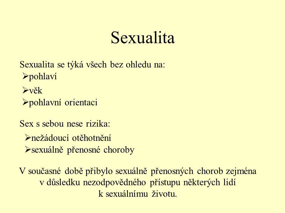 Sexualita V současné době přibylo sexuálně přenosných chorob zejména v důsledku nezodpovědného přístupu některých lidí k sexuálnímu životu.