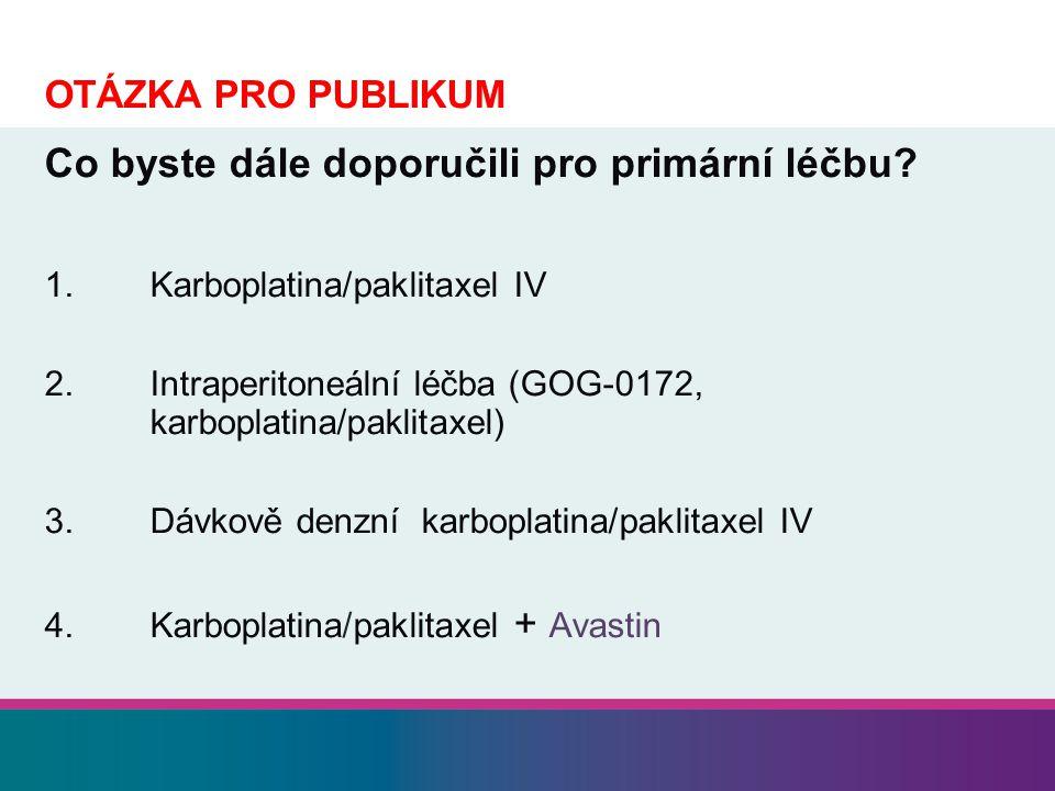 OTÁZKA PRO PUBLIKUM Co byste dále doporučili pro primární léčbu? 1.Karboplatina/paklitaxel IV 2.Intraperitoneální léčba (GOG-0172, karboplatina/paklit