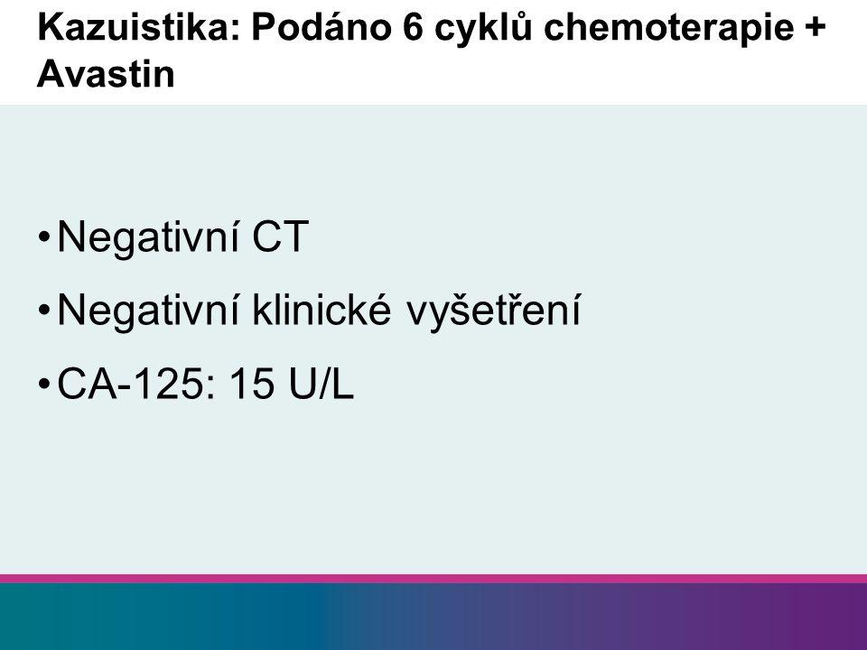 Kazuistika: Podáno 6 cyklů chemoterapie + Avastin Negativní CT Negativní klinické vyšetření CA-125: 15 U/L