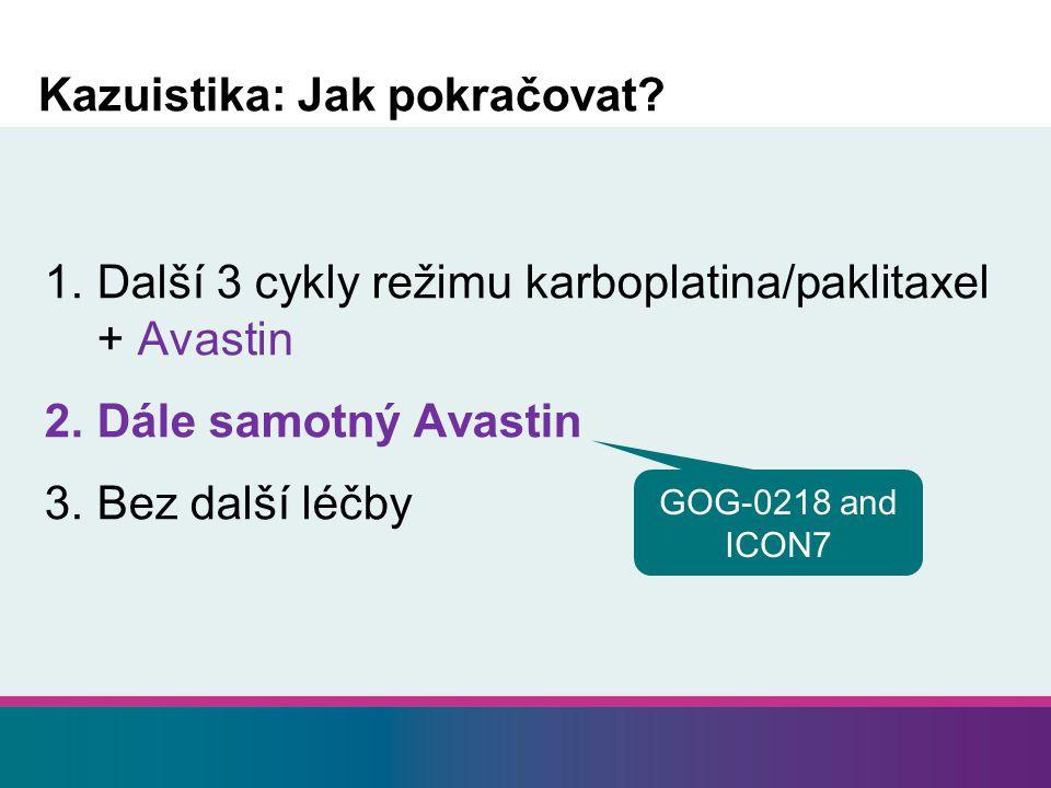 Kazuistika: Jak pokračovat? 1.Další 3 cykly režimu karboplatina/paklitaxel + Avastin 2.Dále samotný Avastin 3.Bez další léčby GOG-0218 and ICON7