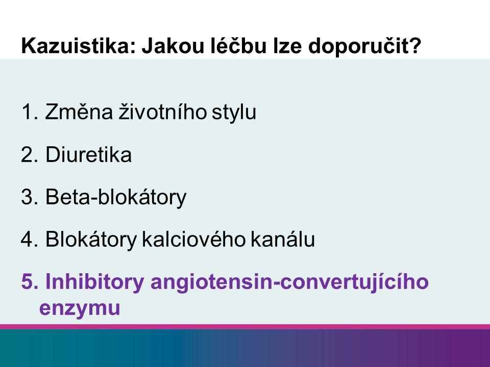 Kazuistika: Jakou léčbu lze doporučit? 1. Změna životního stylu 2. Diuretika 3. Beta-blokátory 4. Blokátory kalciového kanálu 5. Inhibitory angiotensi