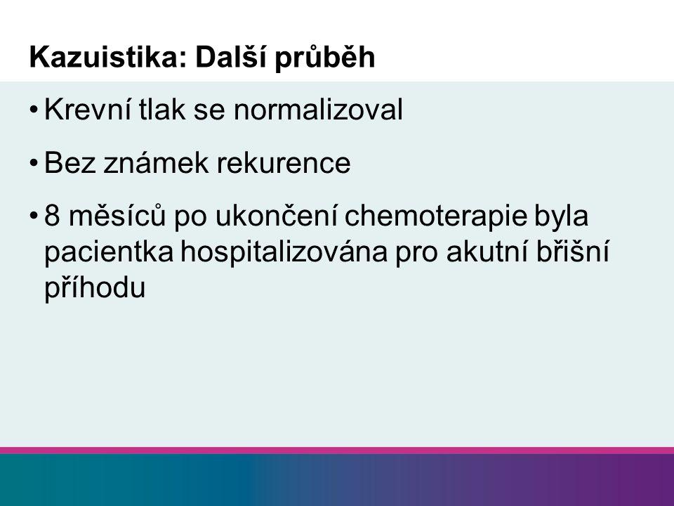 Kazuistika: Další průběh Krevní tlak se normalizoval Bez známek rekurence 8 měsíců po ukončení chemoterapie byla pacientka hospitalizována pro akutní