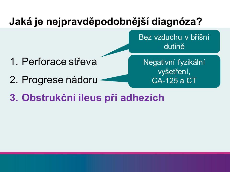 1. Perforace střeva 2. Progrese nádoru 3. Obstrukční ileus při adhezích Jaká je nejpravděpodobnější diagnóza? Bez vzduchu v břišní dutině Negativní fy