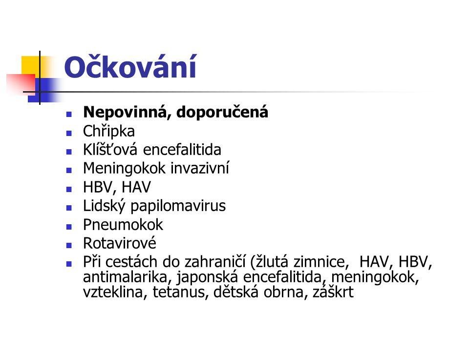 Očkování Nepovinná, doporučená Chřipka Klíšťová encefalitida Meningokok invazivní HBV, HAV Lidský papilomavirus Pneumokok Rotavirové Při cestách do zahraničí (žlutá zimnice, HAV, HBV, antimalarika, japonská encefalitida, meningokok, vzteklina, tetanus, dětská obrna, záškrt