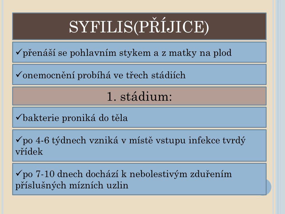 SYFILIS(PŘÍJICE) přenáší se pohlavním stykem a z matky na plod onemocnění probíhá ve třech stádiích 1. stádium: bakterie proniká do těla po 4-6 týdnec