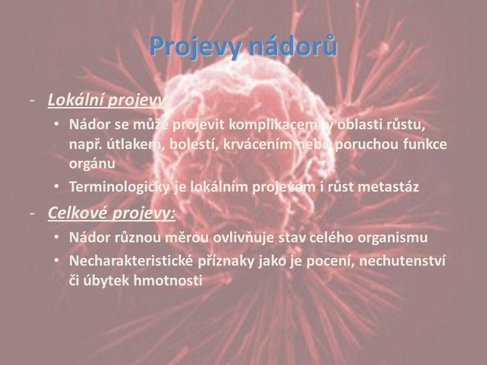 Projevy nádorů -Lokální projevy: Nádor se může projevit komplikacemi v oblasti růstu, např. útlakem, bolestí, krvácením nebo poruchou funkce orgánu Te
