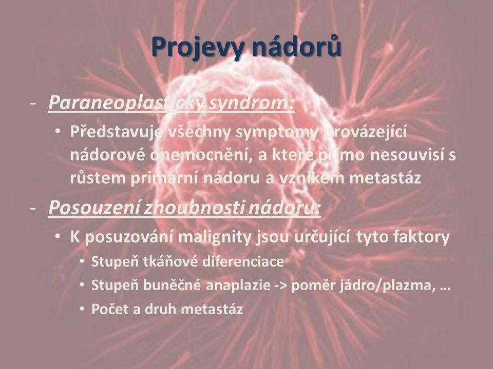 Projevy nádorů -Paraneoplastický syndrom: Představuje všechny symptomy provázející nádorové onemocnění, a které přímo nesouvisí s růstem primární nádo